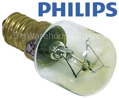 Light bulb t.max. 300°C socket E14 25W 230V ø 25mm L 56mm lens L
